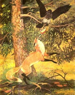 басни ворона и лисица сочинение